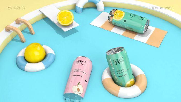 气泡水功能饮料包装设计